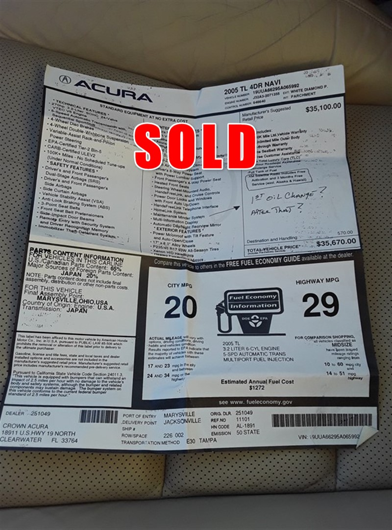 2005 Acura Tl Garage Kept Loaded Nice Stock No Acu5722091190 By Vsa Light On Supersized Photos